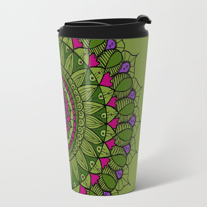 Bohemian Mandala in Green with Pink and Purple Travel Mug