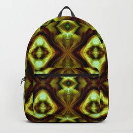 Bright Green Brown Diamond Pattern Backpack