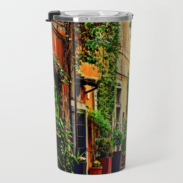 Vintage street in Rome, after Rain Travel Mug
