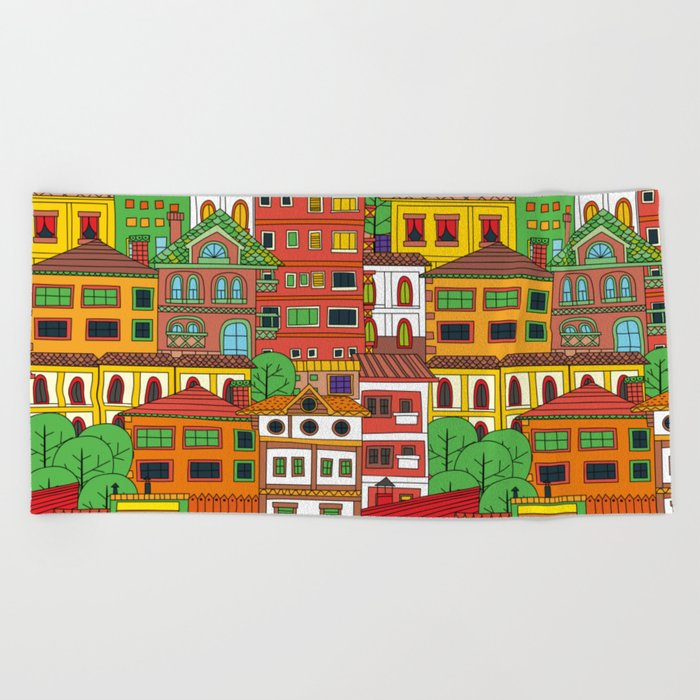 Doodle town pattern Beach Towel