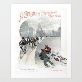"Modern Professional Cycling ""Le Cyclisme Profession Moderne"" 19th Century French Artwork Art Print"