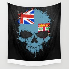 Flag of Fiji on a Chaotic Splatter Skull Wall Tapestry
