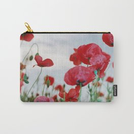Field of Poppies Against Grey Sky Carry-All Pouch
