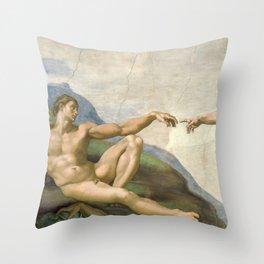 Michelangelo - Creation of Adam Throw Pillow