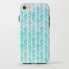 Handpainted Chevron pattern-small-aqua watercolor on white Tough Case iPhone 7