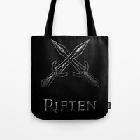 skyrim Tote Bags featuring Riften by Pixel Design