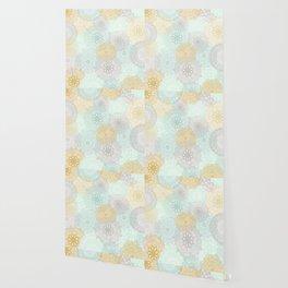 Floral Mandala Blooms Fall, Yellow, Aqua,Gray Wallpaper
