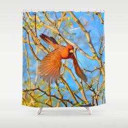 Incoming Red Shower Curtain