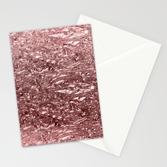Rose Gold Pink Liquid Metallic Chrome Metal Stationery Cards