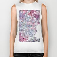 detroit Biker Tanks featuring Detroit map by MapMapMaps.Watercolors