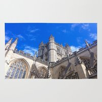 downton abbey Area & Throw Rugs featuring Bath Abbey by Casey J. Newman
