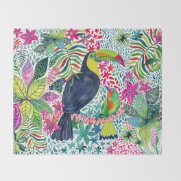 Toucan in the Rainforest Throw Blanket