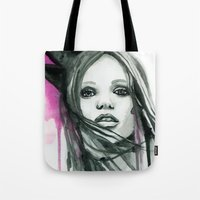 downton abbey Tote Bags featuring Watercolour Fashion Illustration Portrait Abbey Lee by Elise Reid