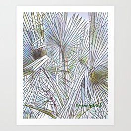 Abstract Palm, Palm Tree Design, White colorful palm, Art Print