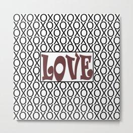 Pantone Red Pear LOVE XOs (Hugs and Kisses) Typography Art Metal Print