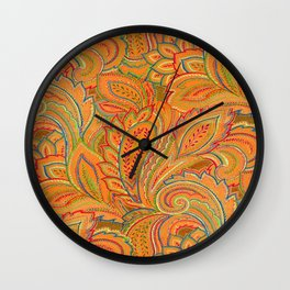 peach paisley Wall Clock