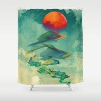 karen hallion Shower Curtains featuring Reach the Sun! by Klara Acel