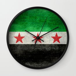 Independence flag of Syria, in grungy vintage style Wall Clock