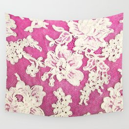 pink lace-photograph of vintage lace Wall Tapestry