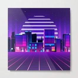 Futuristic Neon City Metal Print