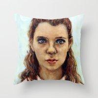 karu kara Throw Pillows featuring Suzy - Moonrise Kingdom - Kara Hayward by Heather Buchanan