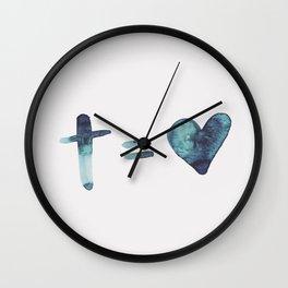 cross equals love Wall Clock