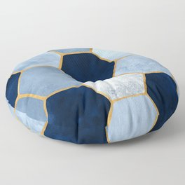 Deco Blue Marble II with Metallic Gold Accents Floor Pillow