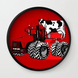 stolen tractor and cow Wall Clock