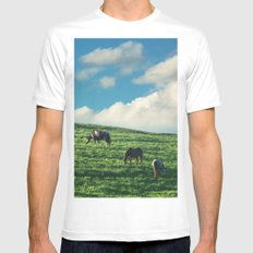 Horses on the Hill Mens Fitted Tee MEDIUM White
