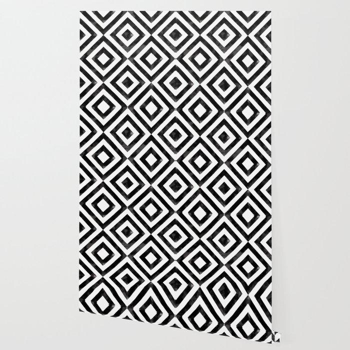 Black And White Watercolor Diamond Pattern Wallpaper By Catyarte Society6