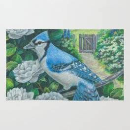 Blue Jay and White Roses Rug