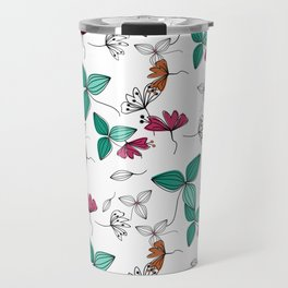 Retro .Floral pattern Rustic Travel Mug