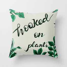 Hooked On Plants/Neutral Throw Pillow