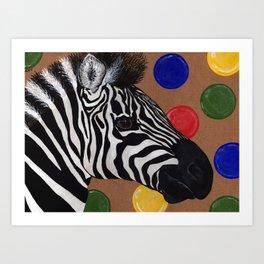 Zebra and Bubbles Art Print