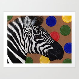 Zebra and Bubbles Art Print