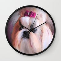 shih tzu Wall Clocks featuring Little Girl Shih Tzu by Jai Johnson