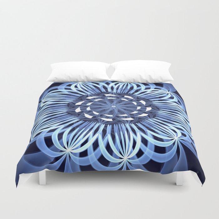 Sky blue fantasy pattern flower Duvet Cover