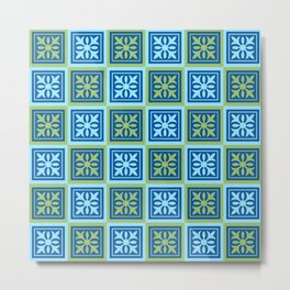Blue and green tiles pattern Metal Print