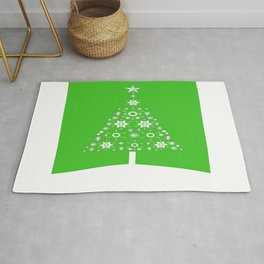 Christmas Tree Of Snowflakes and Stars On Green Background Rug