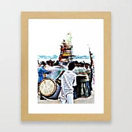 Drummer at Durga Puja Immersion Framed Art Print