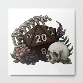 Skeleton D20 Tabletop RPG Gaming Dice Metal Print