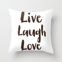 Live Laugh Love vintage brushstrokes Throw Pillow
