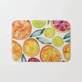 Sliced Citrus Watercolor Bath Mat