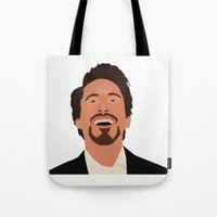 robert downey jr Tote Bags featuring Robert Downey Jr. by Kaylabeaisaflea