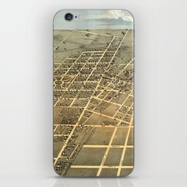 Vintage Pictorial Map of Champaign IL (1869) iPhone Skin