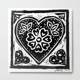 Heart Lino Print made with love Metal Print