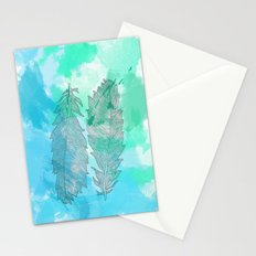 Feathers on Watercolor Stationery Cards