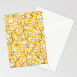 White Magnolias on Yellow Stationery Cards