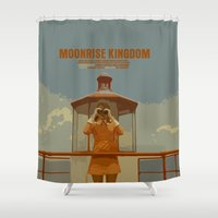 moonrise kingdom Shower Curtains featuring Moonrise Kingdom by FunnyFaceArt