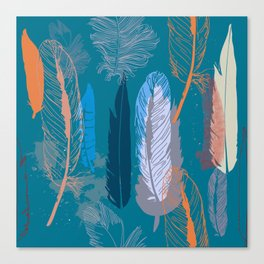 Feather Pattern in Blue Canvas Print